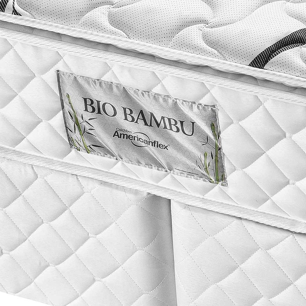 Conjunto Box Solteiro Molas Ensacadas Americanflex Bio Bambu 88x188x63cm